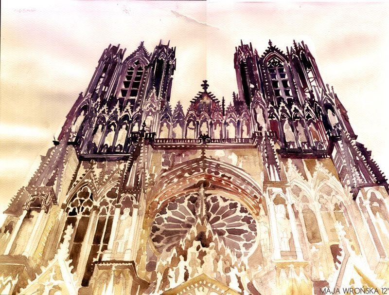 Watercolor Cityscapes By Maja Wronska Notre Dame De Reims