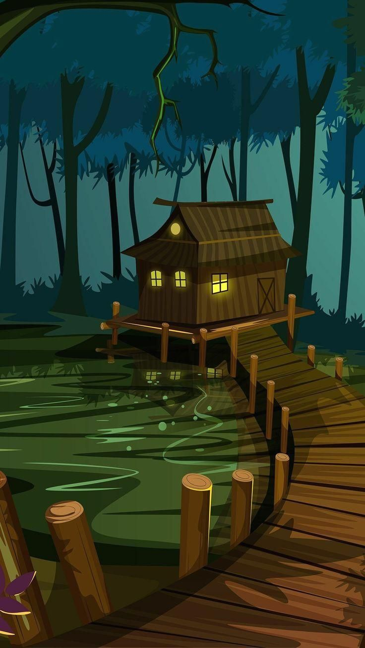 Shack in the swamp   Bayou house | Cartoon forest and house with a boardwalk digital art