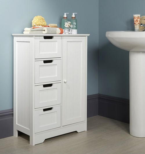 Shaker Style Bathroom Storage Cupboard With 4 Drawers