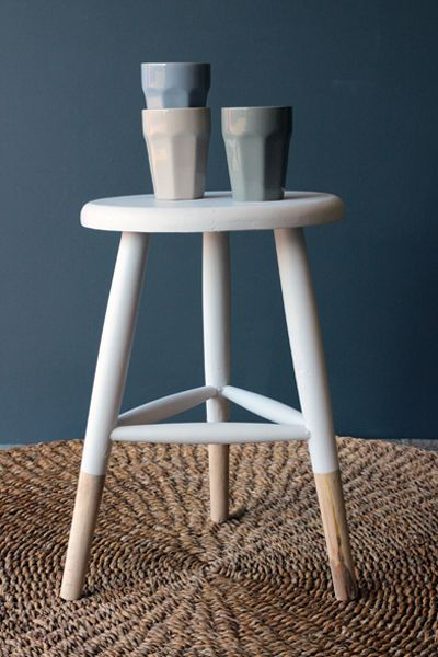 Exceptional Small White Wooden Stool
