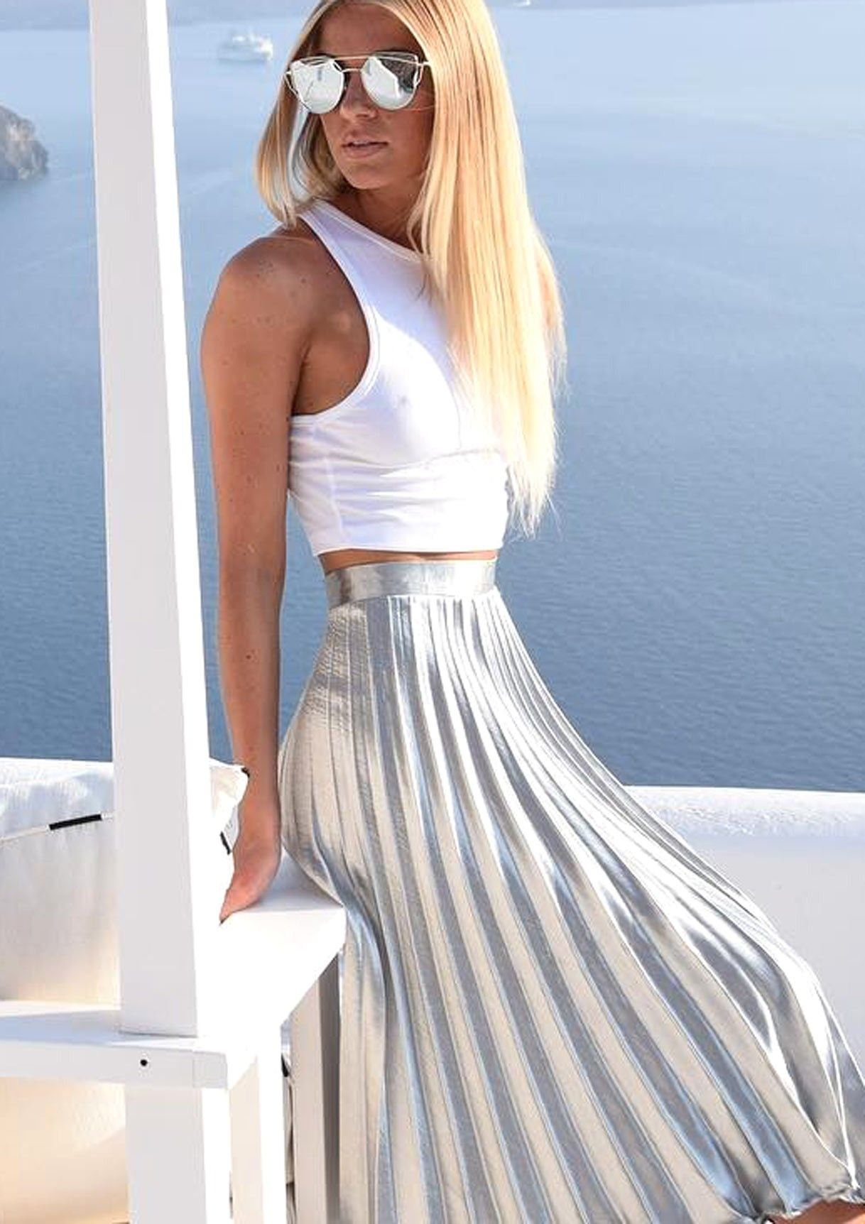 13c4febcd9fcad Kati Silver Pleated Midi Skirt | Woman Bottoms | Pleated midi skirt ...
