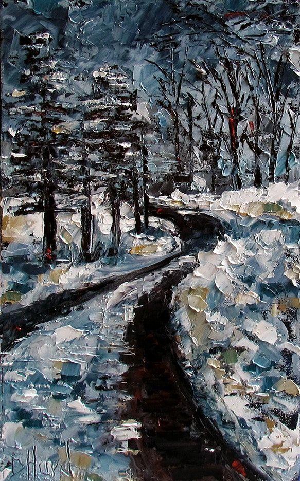 Winterkunst Schneemalerei Landschaftsgemälde Pfad Bäume von Debra Hurd vom Künstler ... #baume #debra #kunstler #landschaftsgemalde #oilpaintings #schneemalerei #winterkunst #winterlandscape