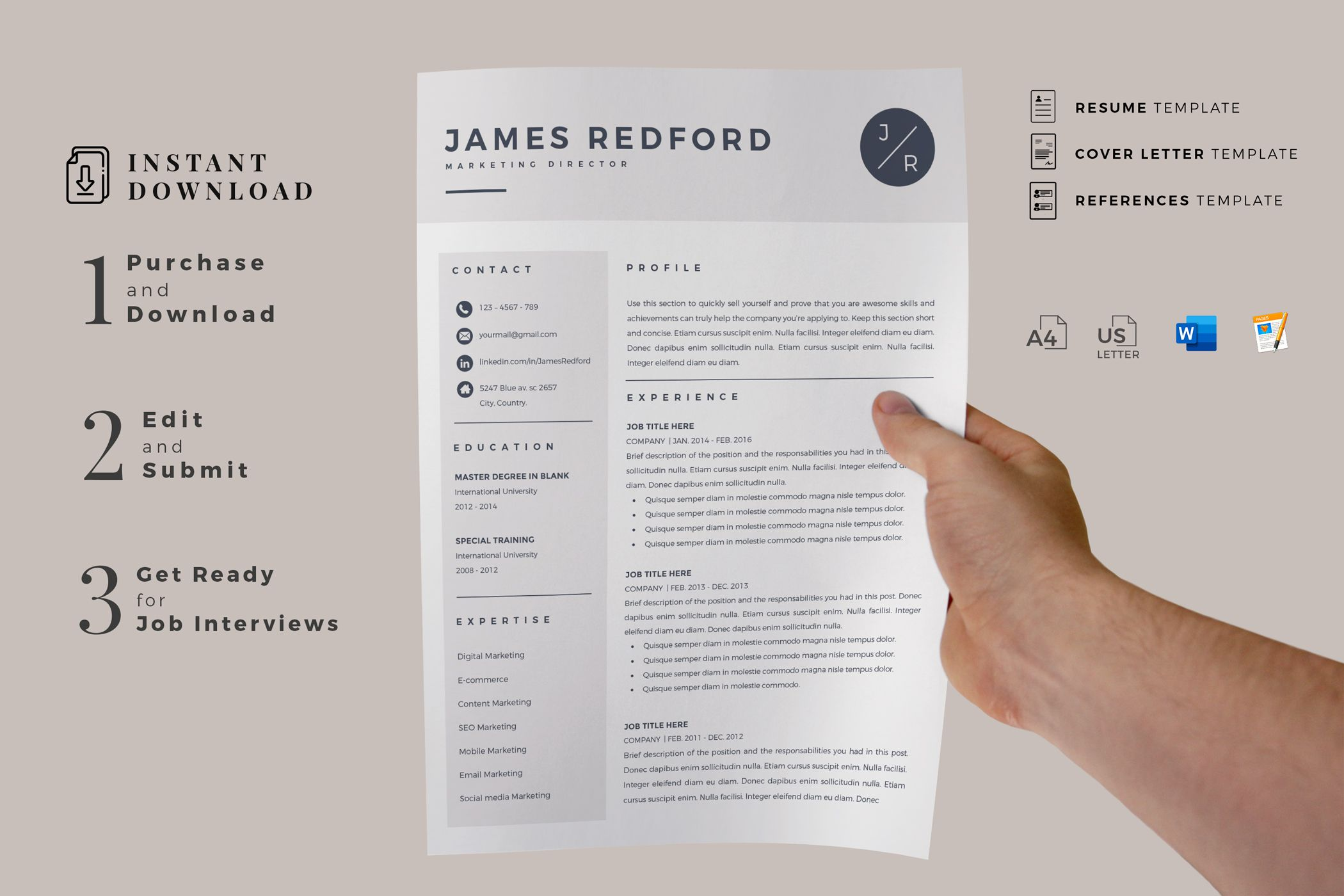 Resume Template Free Resume Template Professional Resume Examples Simple Resume Job Resume Template Free Resume Template Word Microsoft Word Resume Template