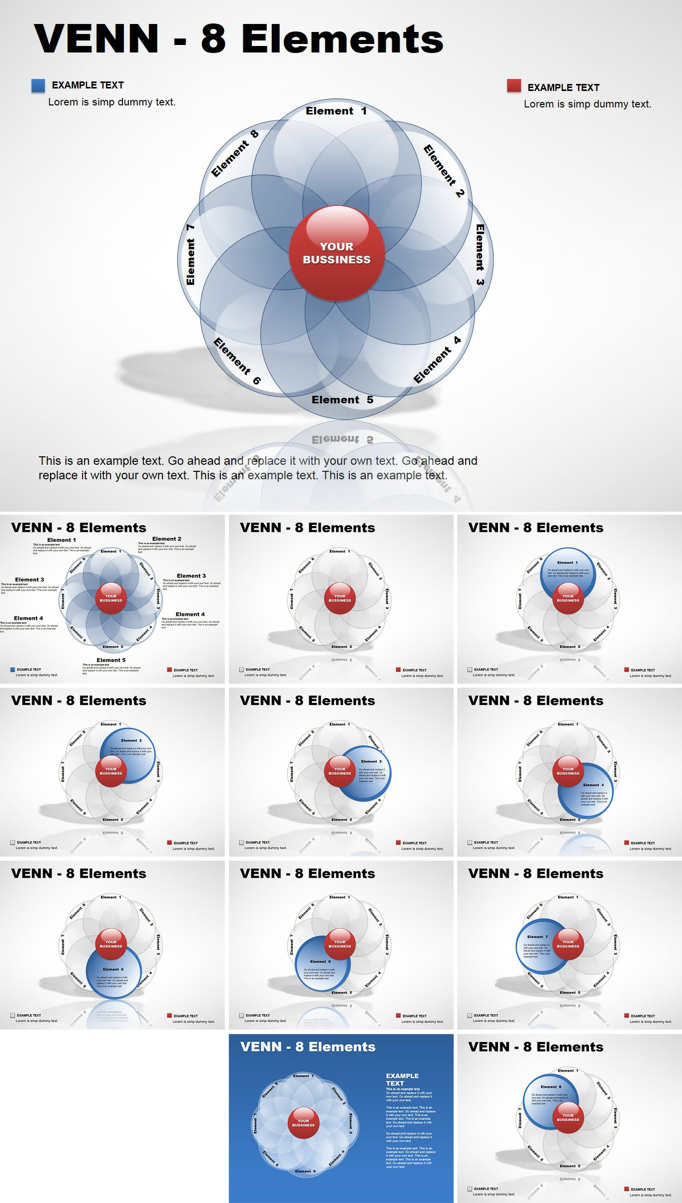 Venn 8 Elements Powerpoint Diagram Each Of The Is Created As A Templates Presentation