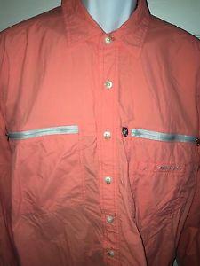 ExOfficio Large Travel Shirt Outdoor Hiking Fishing Hunting Bright Salmon Nylon | eBay