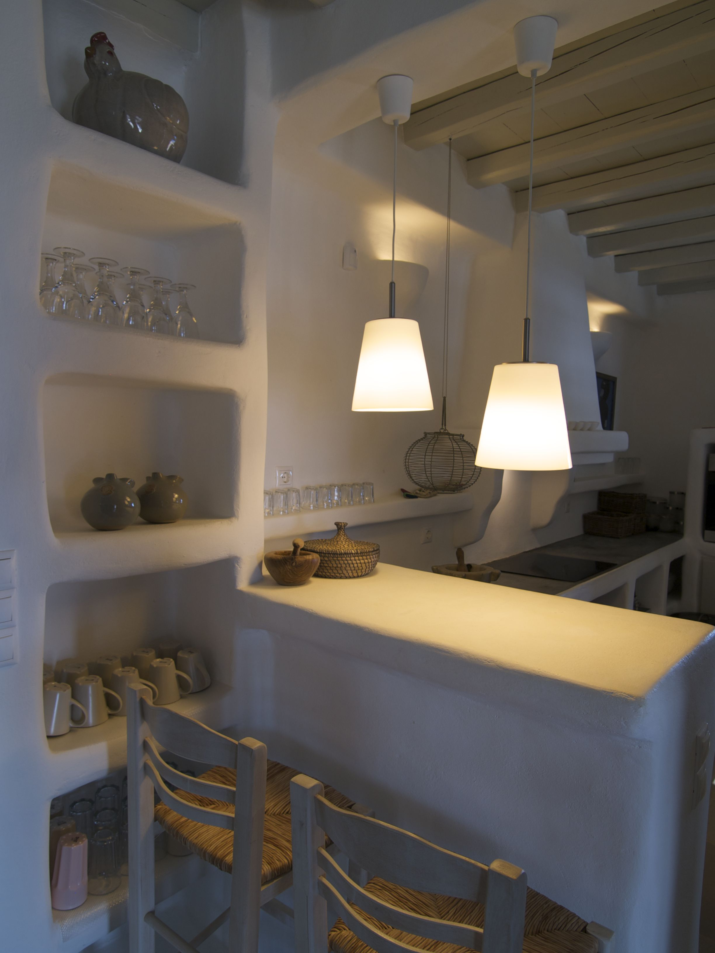 Antiparos, Greece. Built kitchen and cupboards.