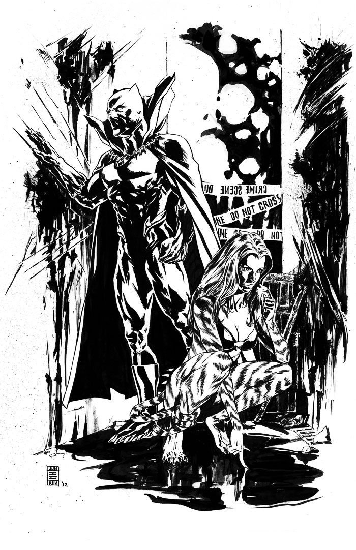 Black Panther & Tigra by Jun Bob Kim