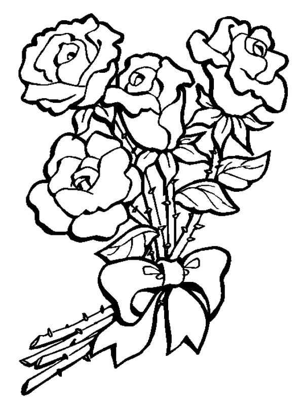 Flower Bouquet Of Roses Coloring Page Color Luna Flower Coloring Pages Rose Coloring Pages Valentines Day Coloring Page