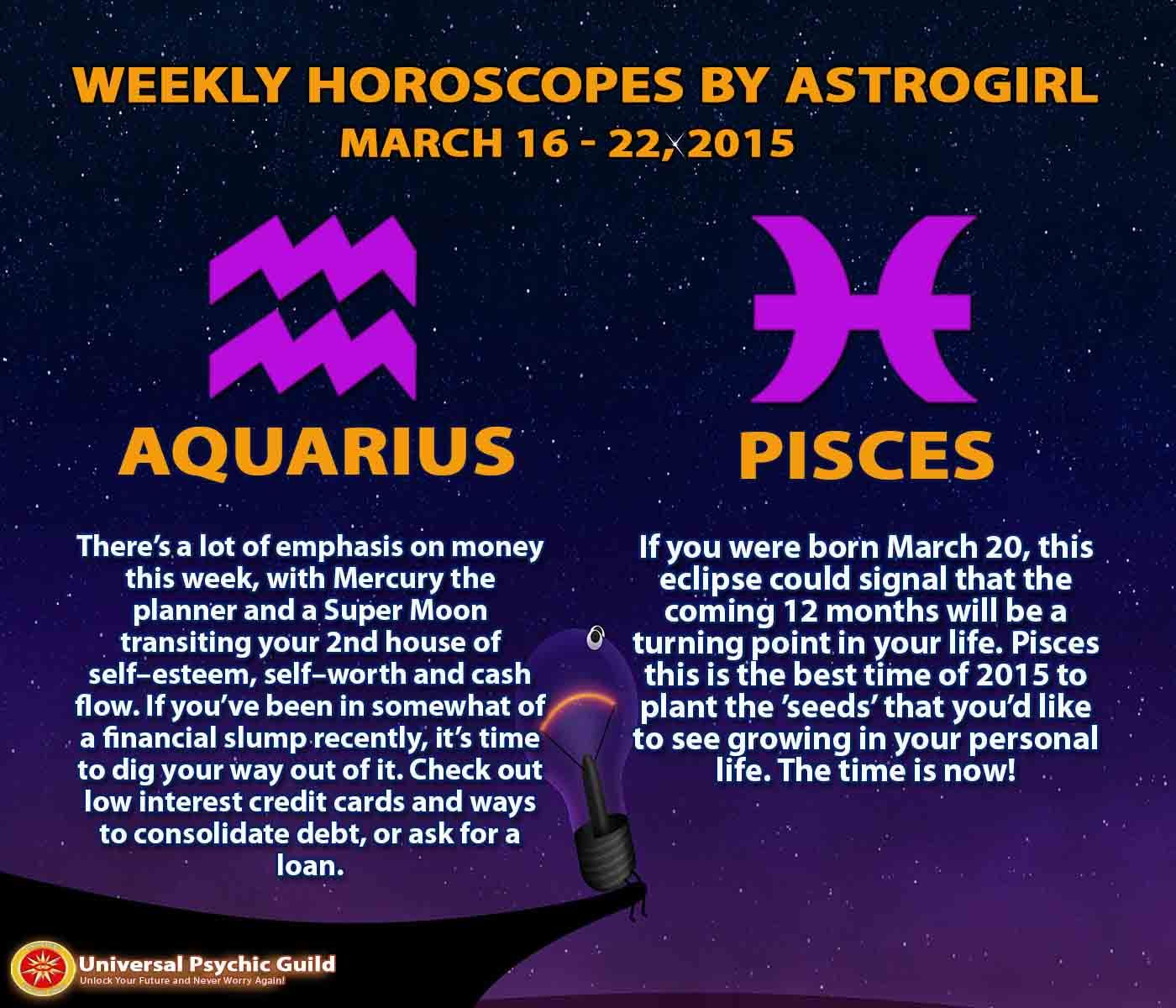 aquarius weekly horoscope march 22