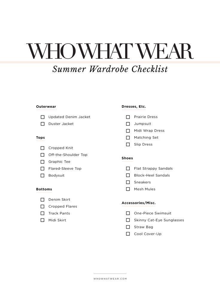 The Fashion Girl's Summer Wardrobe Checklist