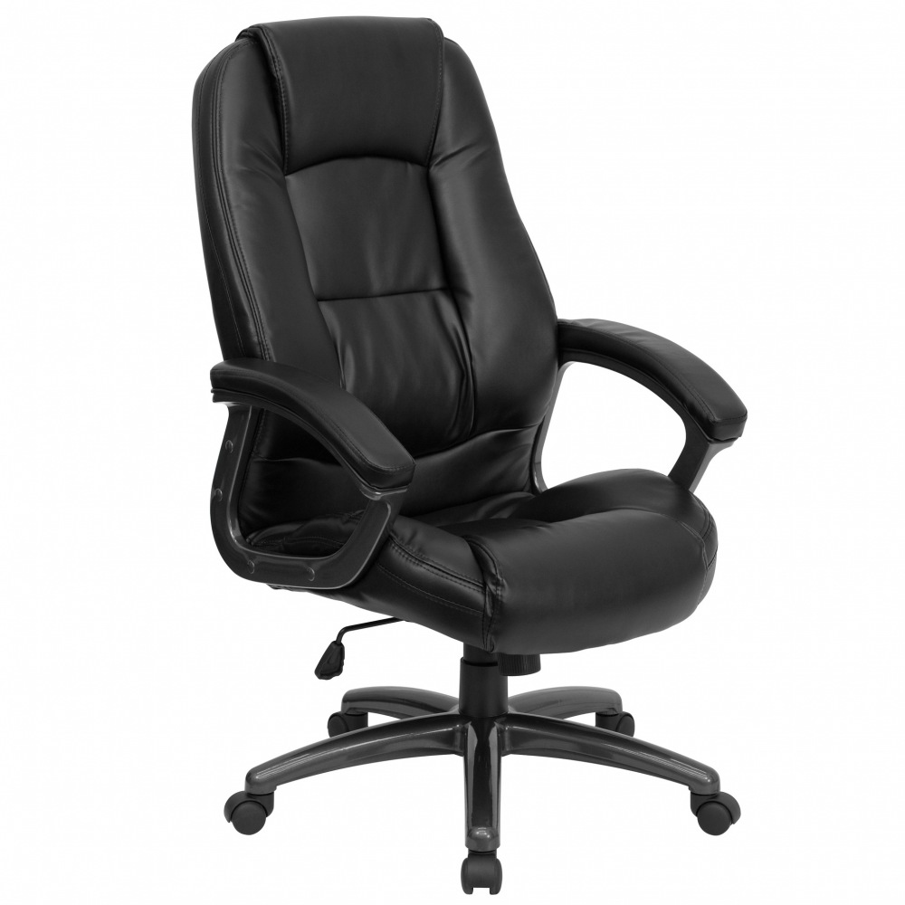 waterfall seat eco friendly high back black leather executive office