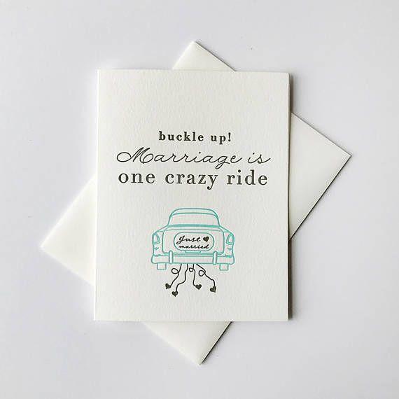 Letterpress Wedding Marriage Congratulations Card Crazy Ride
