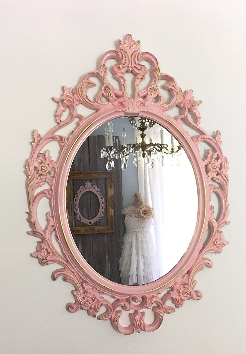 ORNATE OVAL MIRROR, Large Wall Hanging Mirror, Soft Pink Baroque ...