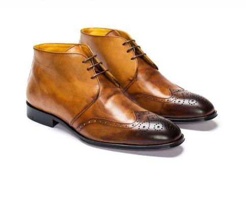 handmade men's chukka boot men's tan brown black tone