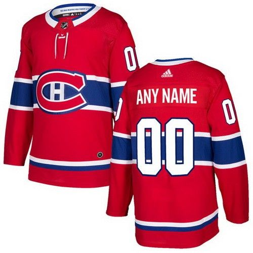Men's Montreal Canadiens Customized Red Authentic Adidas Jersey