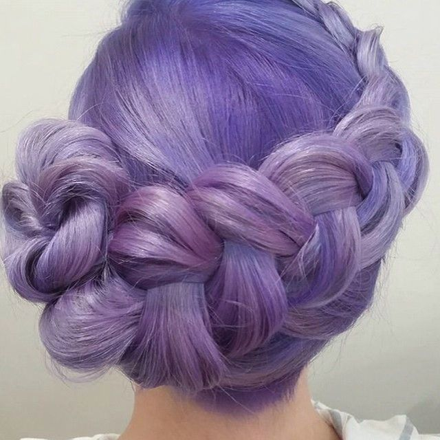 Manic Panic: Holy #updo!  This #beautiful #color  and #styling  of the #braid were done by Julie from @tonsurehairdesign  in #Australia. She #Pastelized ❄️ our #UltraViolet for this soft shade of #lovely #lavender . If you're in #Oz and want to buy #ManicPanic  #haircolor, look no further than @hairhouseaustralia!