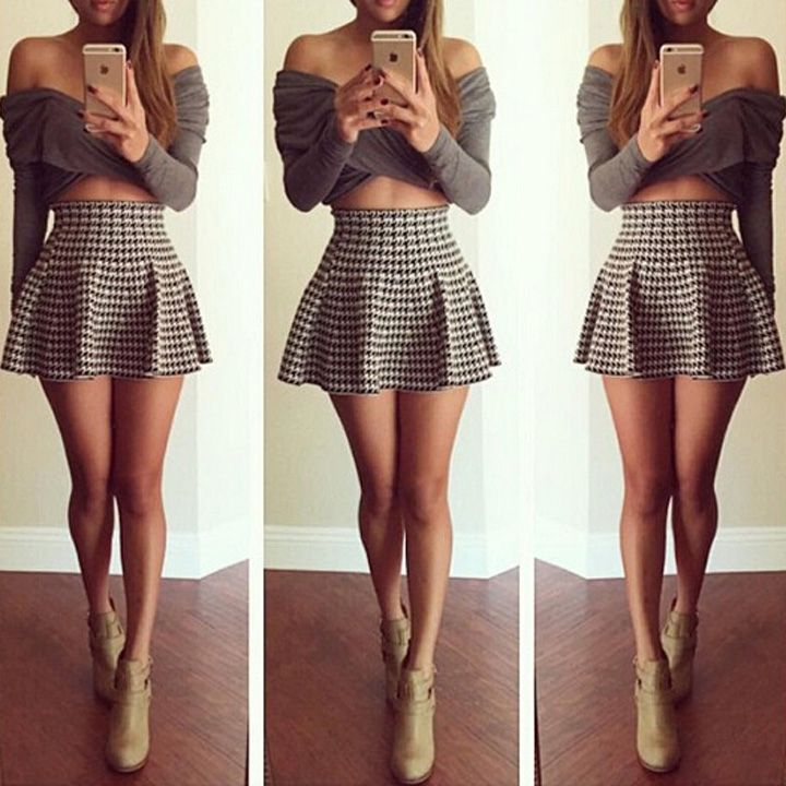 long sleeve crop top skirt fashion pinterest long. Black Bedroom Furniture Sets. Home Design Ideas