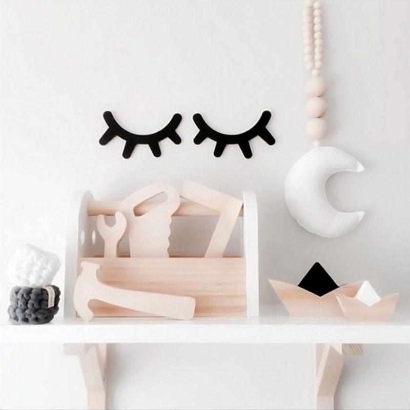 Eyelashes Shape Wood Sticker Wall Hangers Rack Organizer Kids Room Hanging Decor