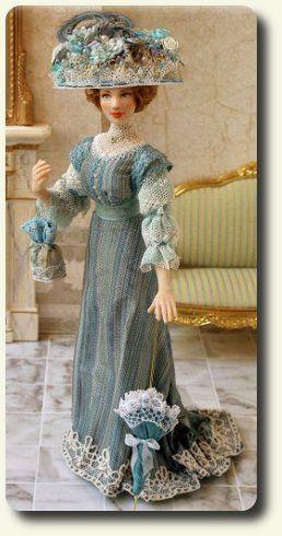 Elisa Fenoglio IGMA Artisan  www.cdhm.org/user/magicdolls  1:12 dressed doll for dollhouse miniature scale