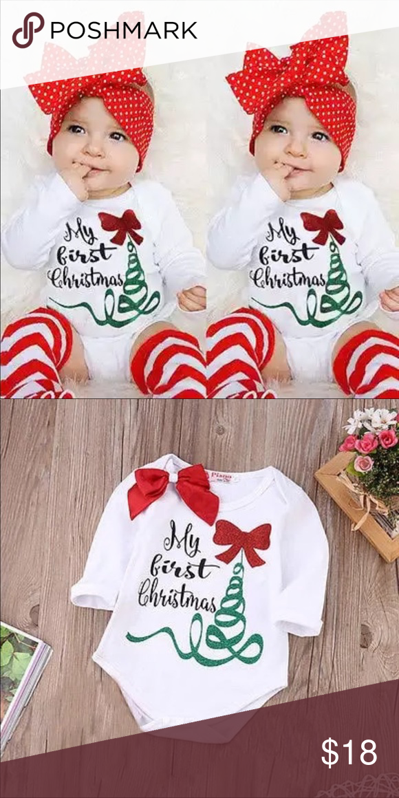 e37e70f173 My first Christmas baby girl Jumpsuit Boutique item brand new. I- neckline.  Long sleeve. Material cotton  polyester blend.. bow included.