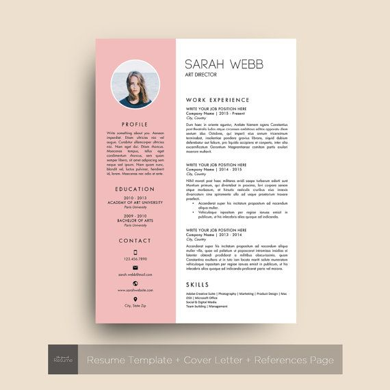 Resume Template With Photo 3 Pages Cv Cover Letter References For Ms Word Simple Creative And Design Cv Model 07 Sarah Modele Lettre De Motivation Cv Original Modele Cv
