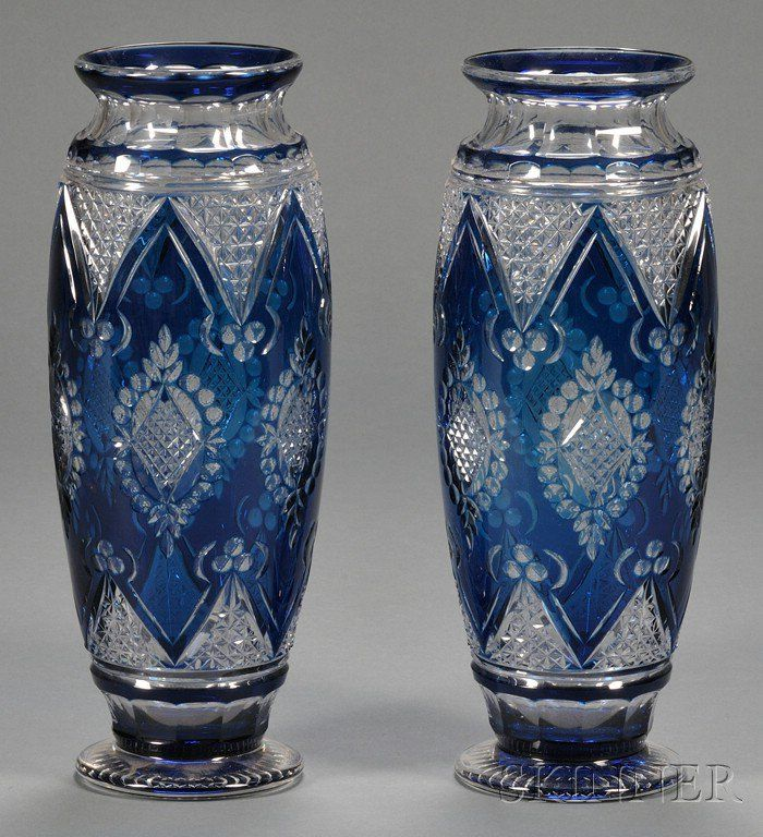Pair of Bohemian Blue Overlay Glass Vases