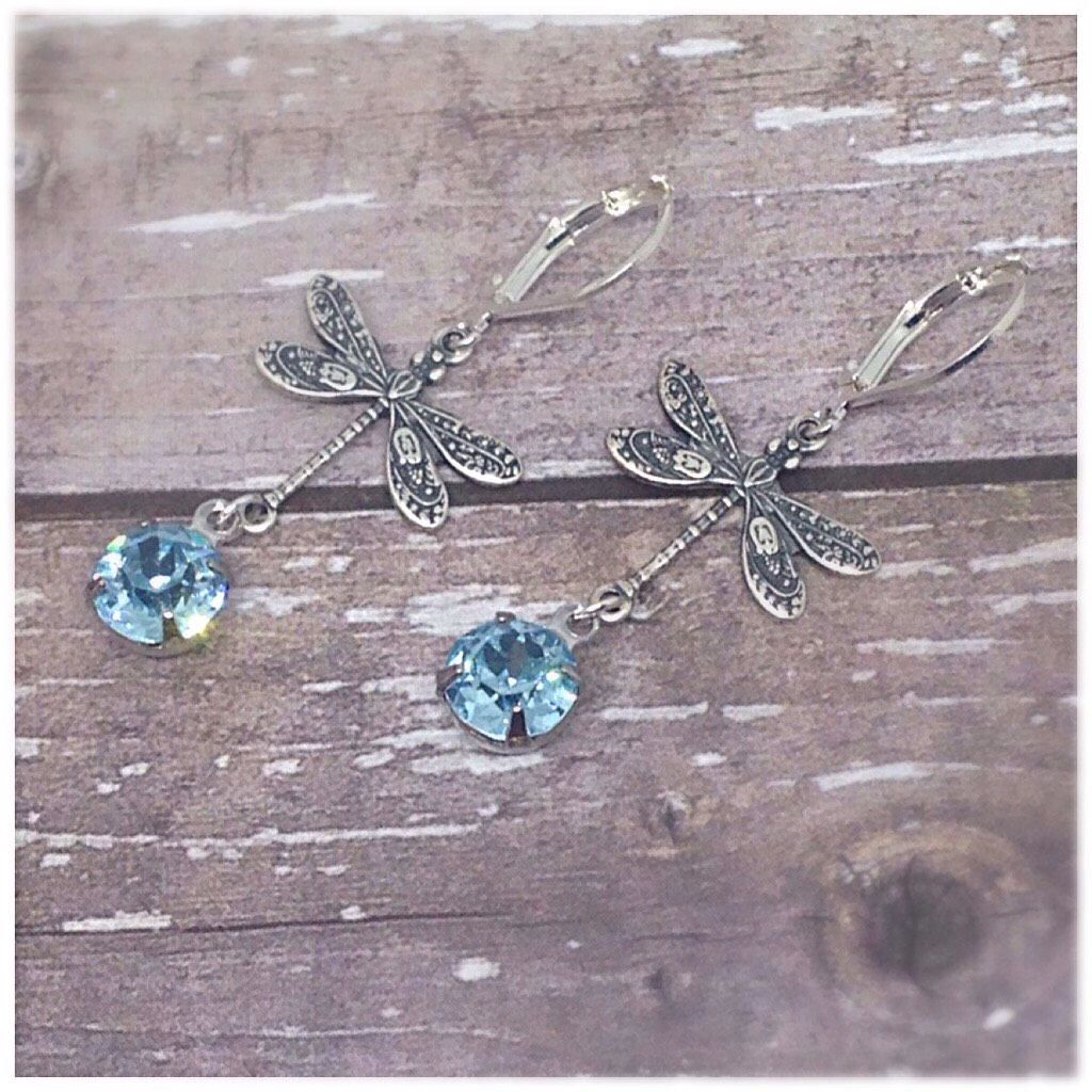 Dragonfly Earrings Blue Crystal Silver Nature Jewelry Charm