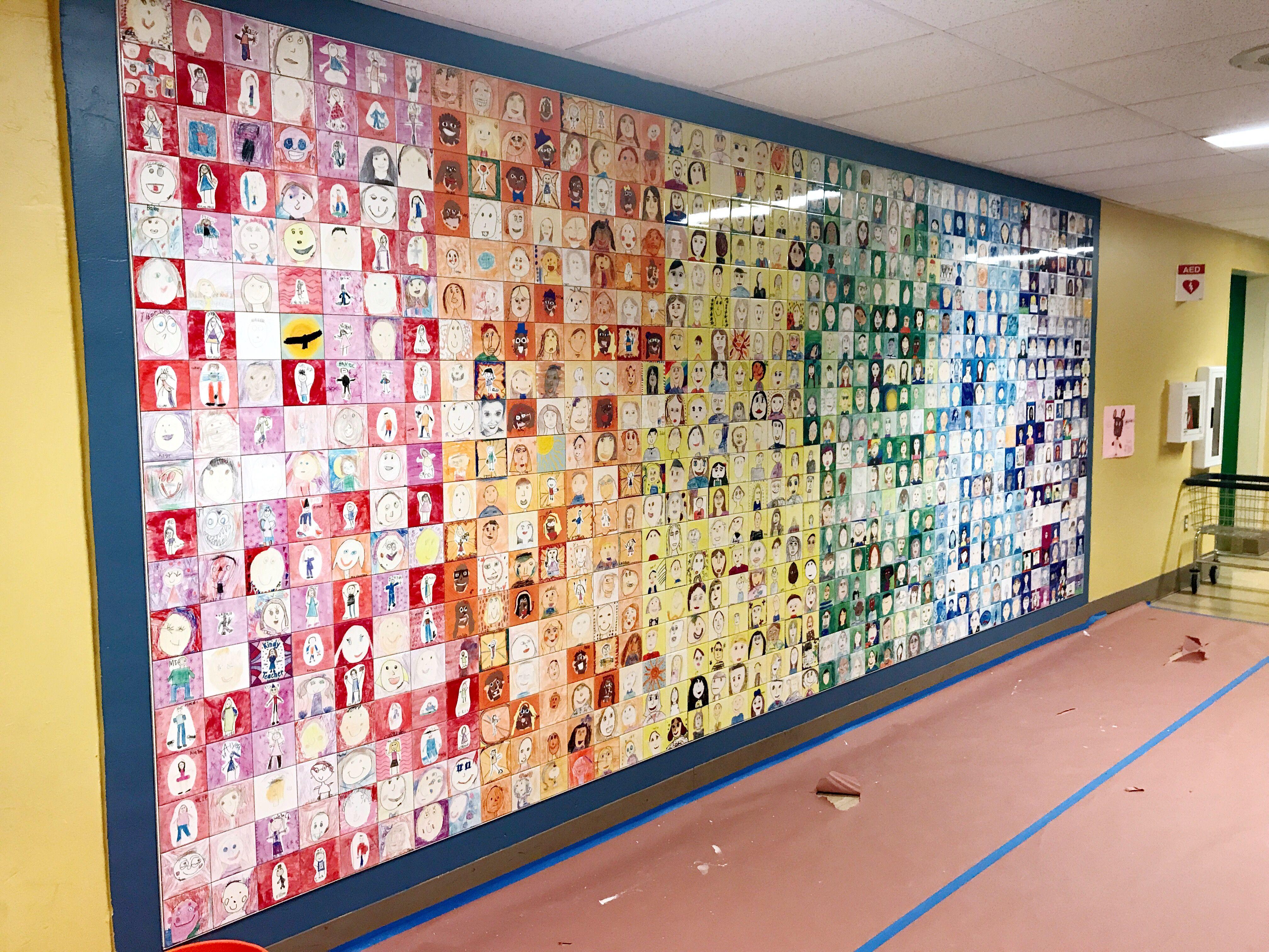 Elementary School Self Portrait Tile Wall