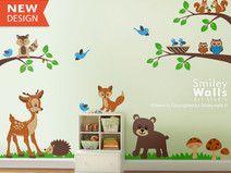 New Wandtattoo Waldtiere Kinderzimmer Baby Raum