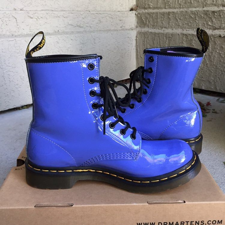Dr Martens 1460 Patent Lamper Dusty Blue Women S Size 9 In Preowned Condition Has A Few Rub Marks Here And There Some C Blue Doc Martens Dusty Blue Martens