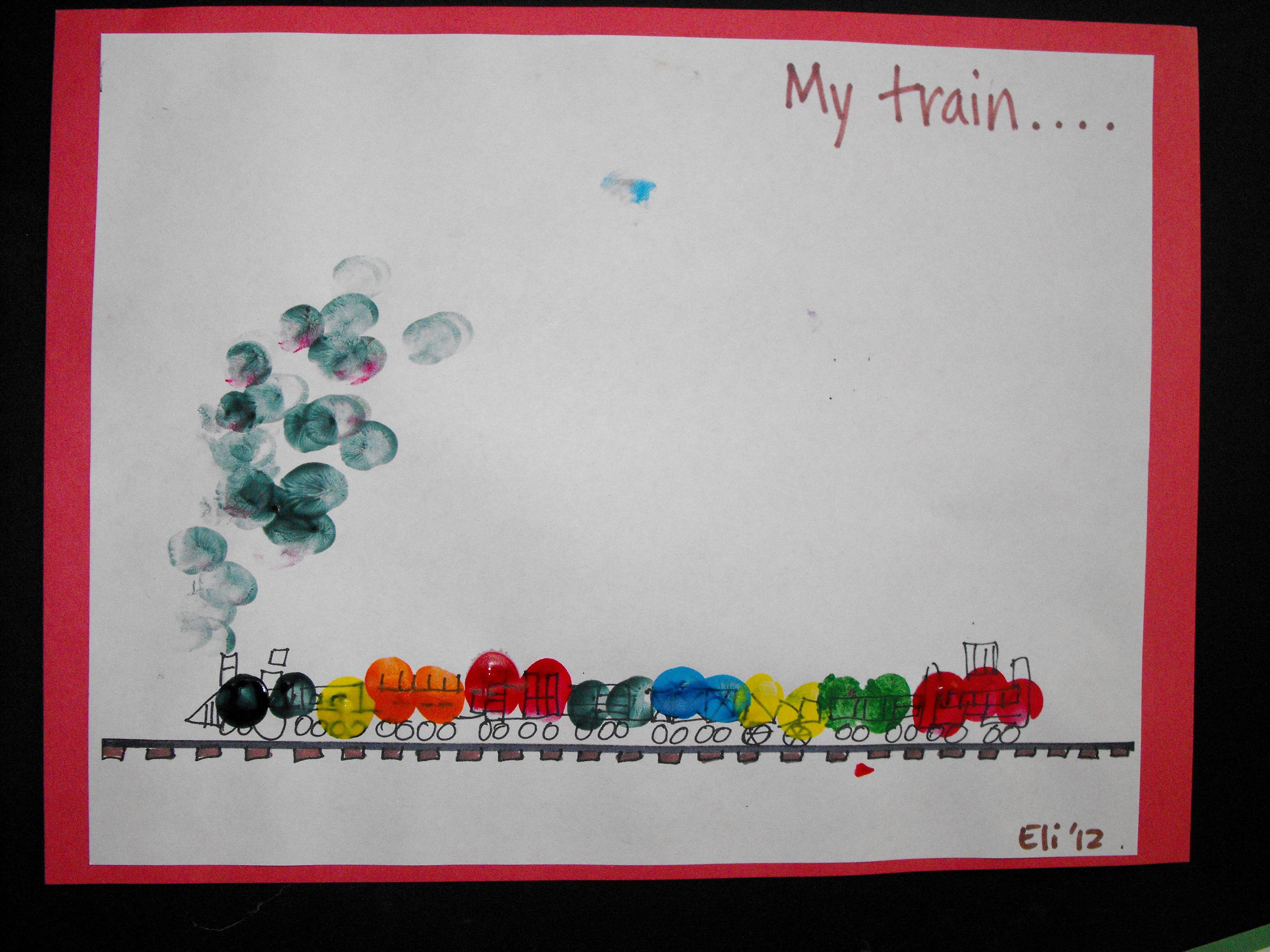 Fingerprint Train Toddler Arts Crafts Classroom Art