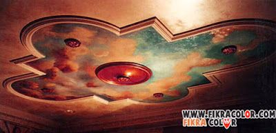 ديكورات رسم سحاب على السقف لأخذ الأفكار الى كل حرفي في مجال الدهانات Fikra Color Drawing Sky Drawings Sky