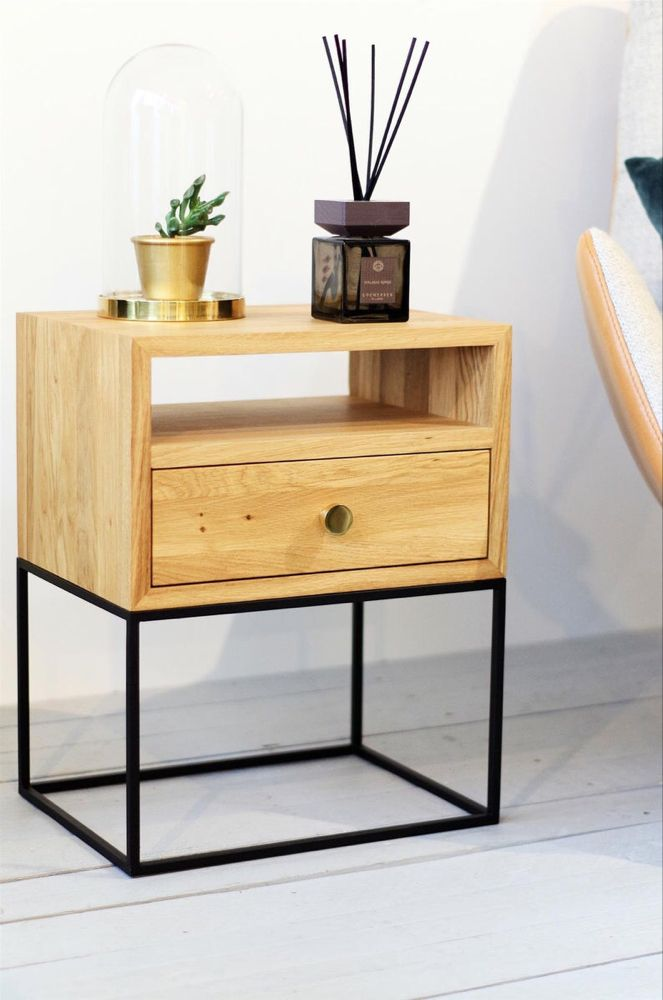 Best Natural Industrial Nightstand Mid Century Style Bedside 400 x 300
