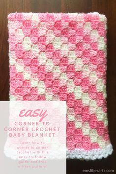Easy Corner to Corner Crochet Baby Blanket images