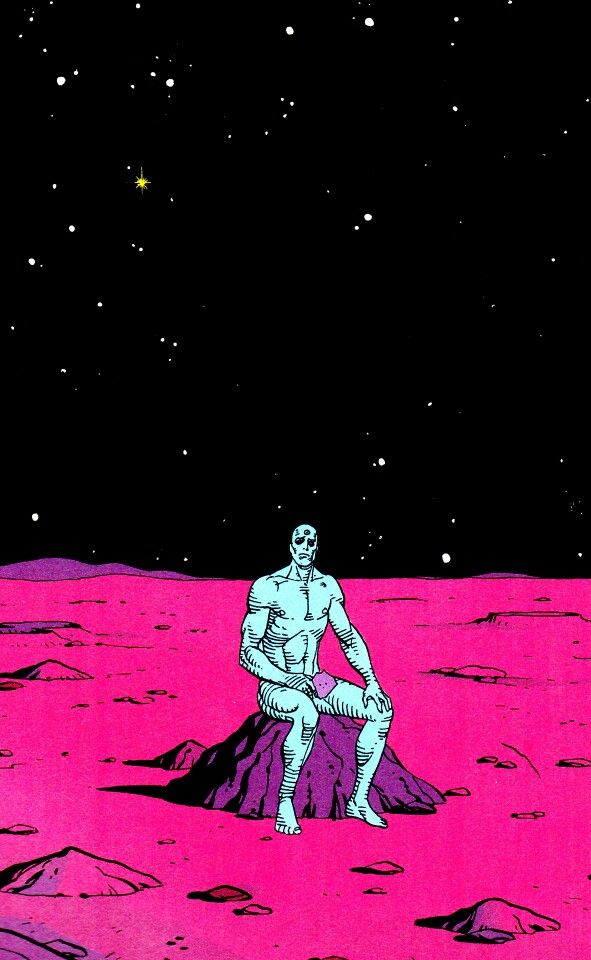 Watchmen Dr Manhattan Manhattan Wallpaper Vaporwave Wallpaper Comic Books Art