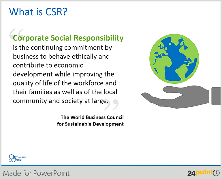 introduction to corporate social responsibility Social responsibility is an ethical theory, in which individuals are accountable for fulfilling their civic duty the actions of an individual must benefit the whole of society in this way, there must be a balance between economic growth and the welfare of society and the environment.