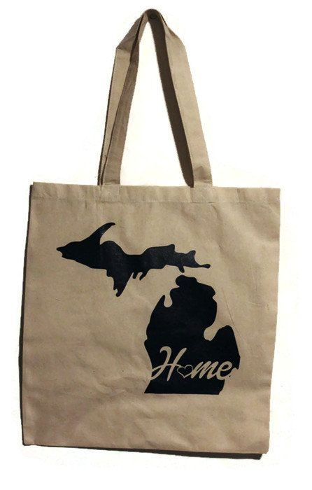 Recycled Cotton Canvas Tote. Silk Screened by hand with 'Michigan with Home Text' Design. $9