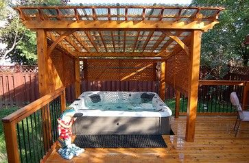 covered spa and cedar deck - traditional - deck - ottawa ... - Spa Patio Ideas