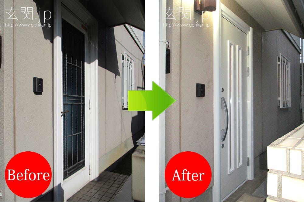 積水ハウスの玄関ドア交換例 ホワイトの断熱仕様 K4 玄関へリフォーム 玄関ドア リフォーム ドアリフォーム