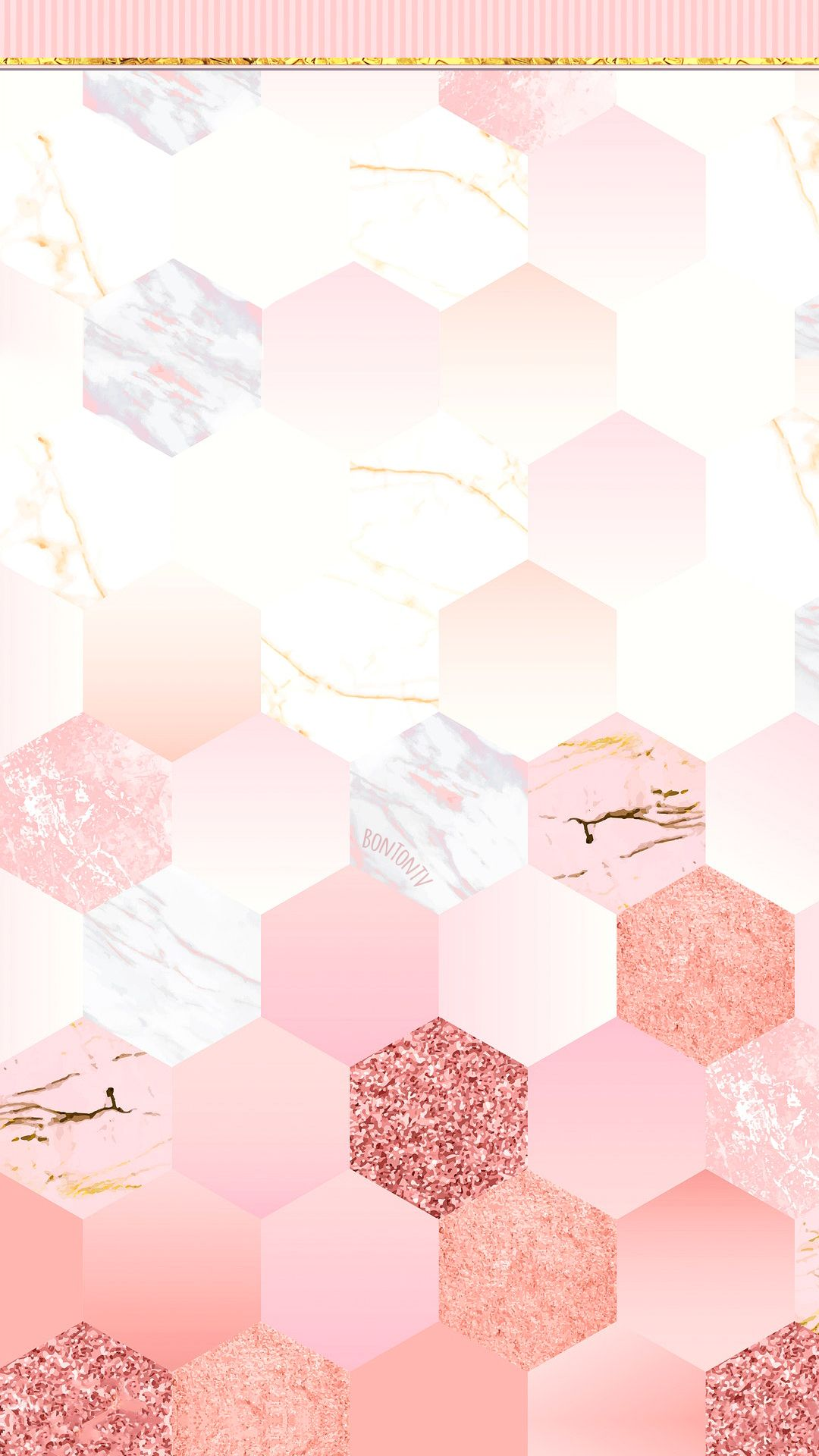 Phone Wallpapers Hd Cute Girly Pink Hexagons With Gold By Bonton