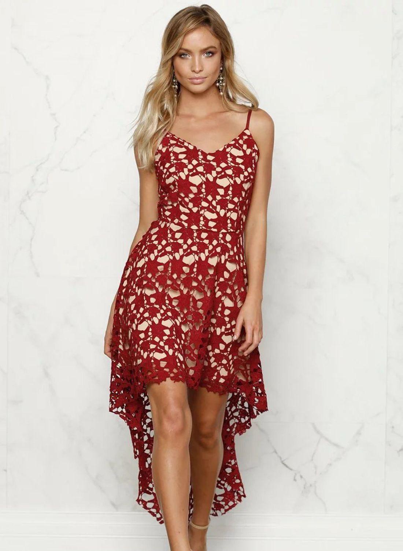 Floral Lace Trim Asymmetric Spaghetti Strap Dress - AZBRO.com