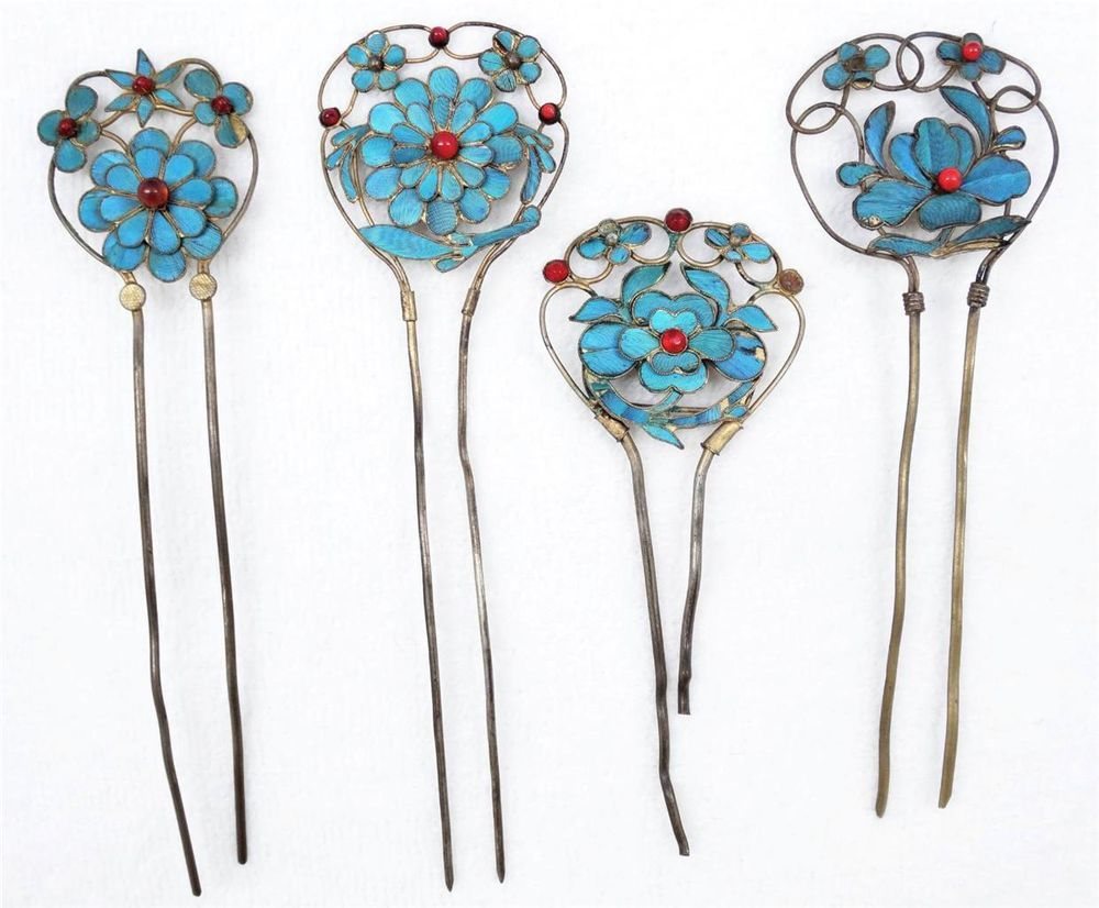 Set 4 Fine 19th C Chinese Silver Kingfisher Flower Trellis Hair Ornaments Pins Hair Ornaments Chinese Hair Accessories Flower Trellis