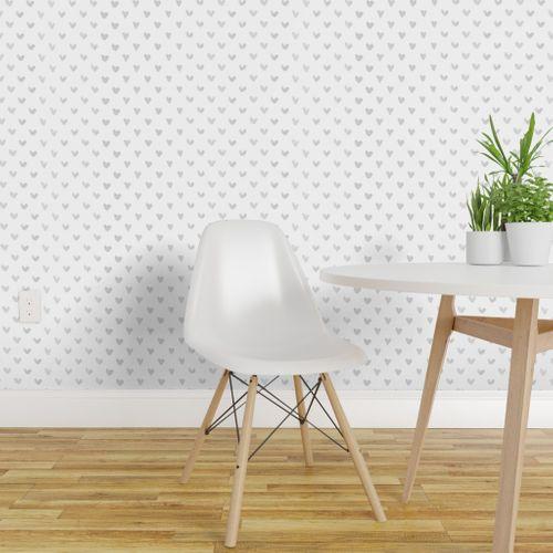 Love Hearts Light Gray Grey Dot Wallpaper Quick Decor Dots Wallpaper