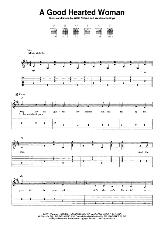 a good hearted woman country music favorites music music tabs sheet music. Black Bedroom Furniture Sets. Home Design Ideas