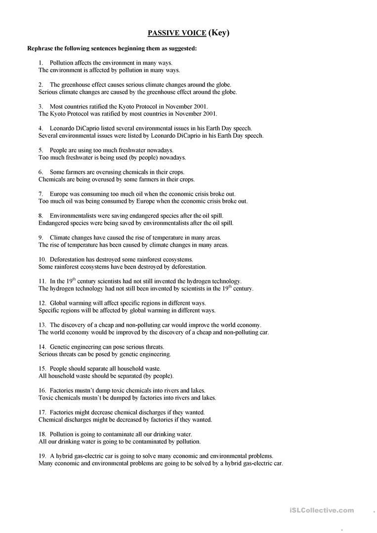 Passive Voice Environment Worksheet Free Esl Printable Worksheets Made By Teachers Active And Passive Voice Passive English Grammar