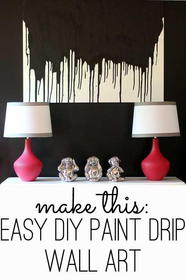 Make this easy diy paint drip wall art modern wall art for Diy canvas art black and white