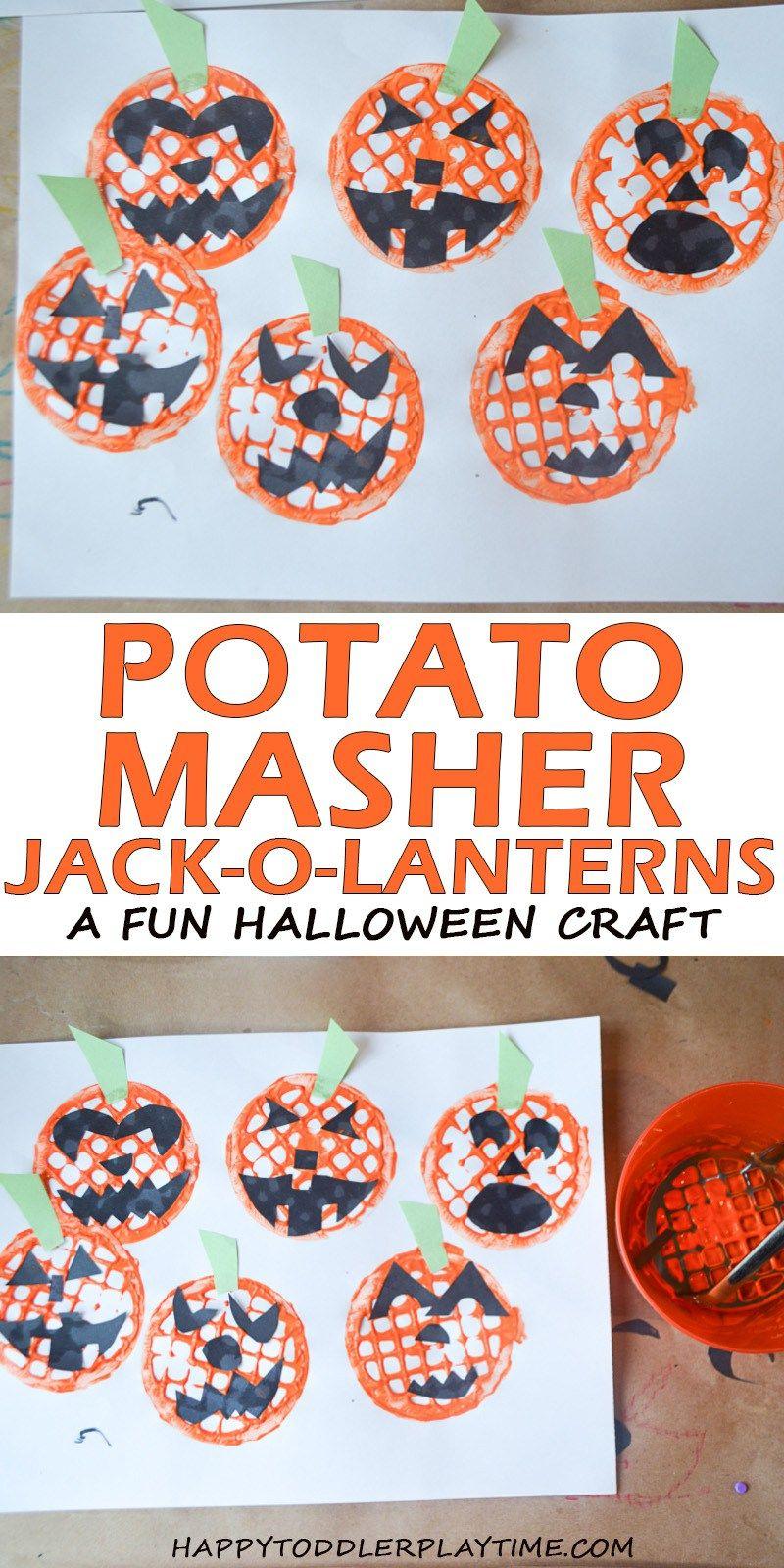 Potato Masher Jack-o-Lanterns #pumpkincraftspreschool