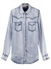Lapel Long-sleeved Denim Shirt Grey Blue $56.00