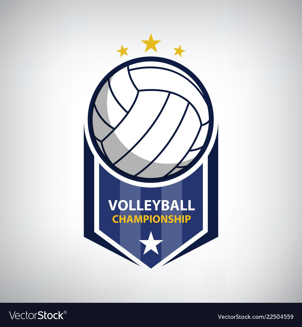Volleyball Championship Logo Vector Image On Vectorstock Volleyball Vector Logo Volleyball Designs