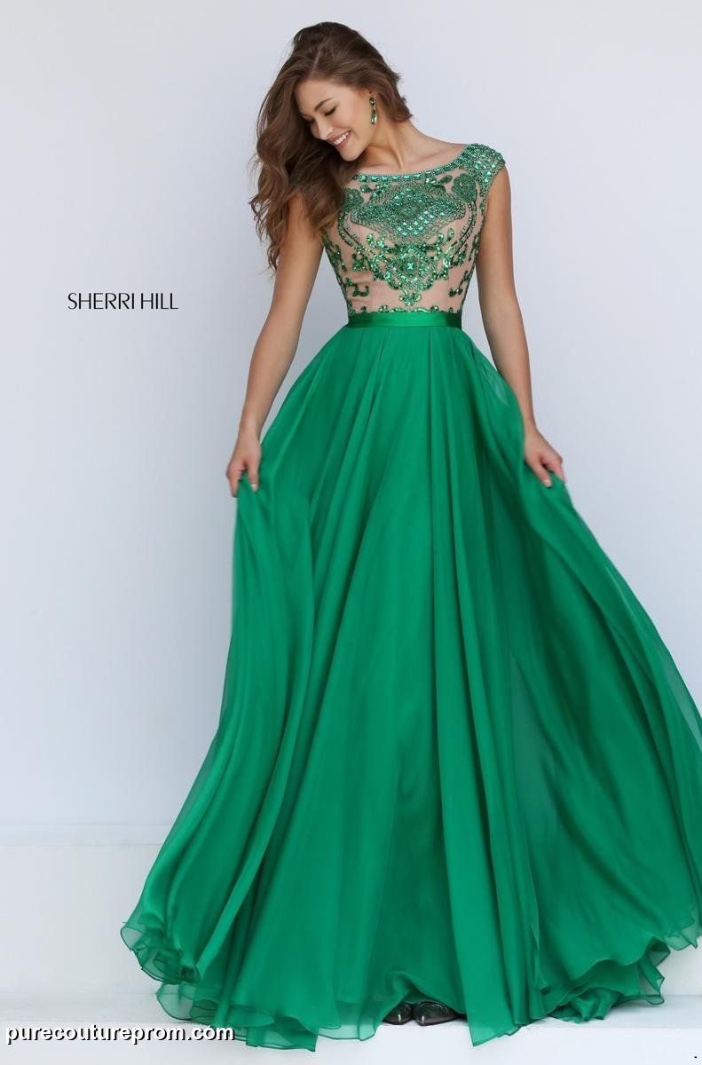 11332 Sherri Hill. Floorlength Green Prom Dress. Long Green ...